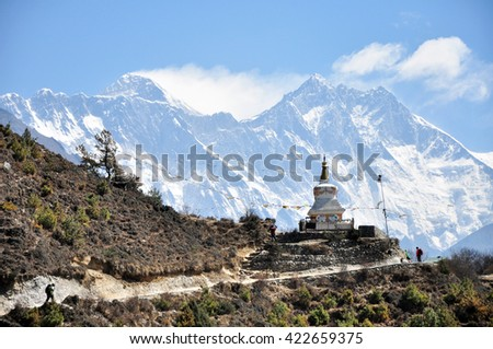 Norgay Tenzing Monument in the background of summits of Mount Everest and Lhotse - Himalaya, Nepal. - stock photo