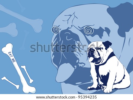 Normal and hypnotized bulldog - stock photo