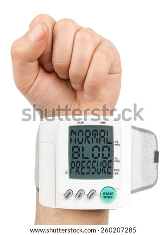 Normal blood pressure digital monitor - stock photo