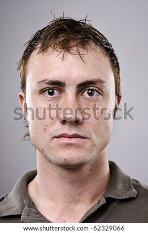 Normal man portrait in studio, high detail. - stock photo