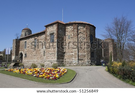 Norman castle in Colchester, Essex, United Kingdom, built in the 11th century. - stock photo