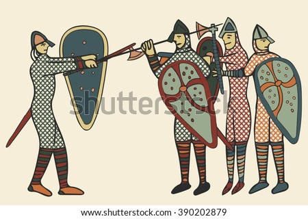 Norman Invasion soldiers in battle. Done in a medieval style? of illustration - circa the 11th Century in England. Battle of Hastings 1066 (Computer artwork)