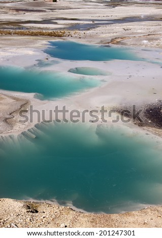 Norris basin Geysers in Yellowstone national park - stock photo