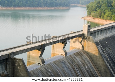 Norris Dam spillway.  A hydroelectric dam in East Tennessee. - stock photo