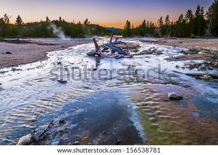 Norris Geyser Basin at Sunset - stock photo
