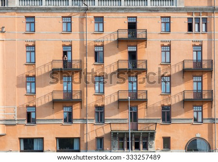 NORRKOPING, SWEDEN - AUGUST 4: Facade of Grand Hotel on August 4, 2015 in Norrkoping. Grand Hotel is one of the most fashionable hotels in Norrkoping.