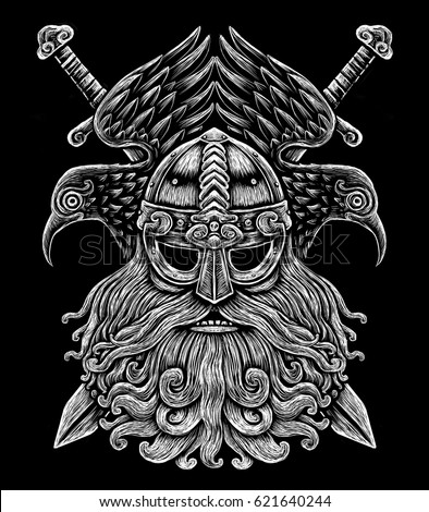 Norse god odin with crows and swords viking warrior engraving style illustration on the black