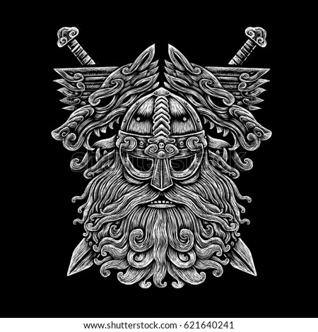 Norse god odin with wolfs and swords viking warrior engraving style illustration on the black