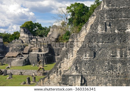 North Acropolis structures on the Grand Plaza of Tikal National Park and archaeological site, Guatemala - stock photo