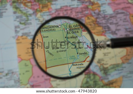 North Africa Map, selective focus - stock photo