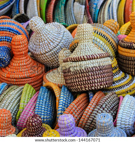 North African hand made baskets, market, Majorca, Spain - stock photo