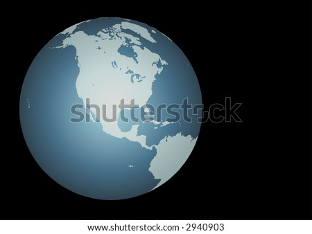 North America Accurate map on a globe. Includes Canada, USA, Mexico, Hawaii, Aleutians, great lakes