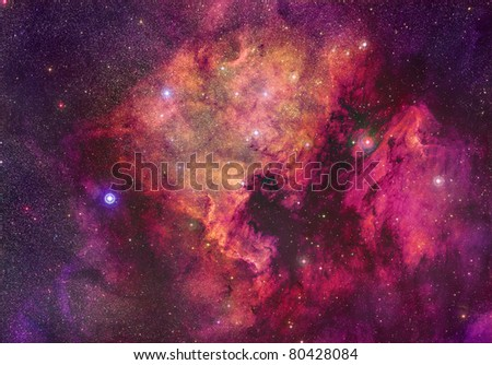 North America and Pelican nebulae - stock photo