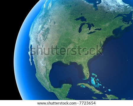 North America as seen from space - stock photo