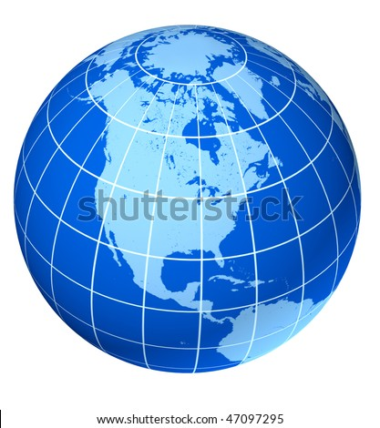 north america blue earth globe isolated on white - stock photo