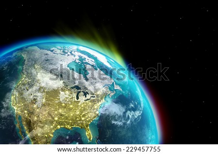 North America continent along  with city lights from outer space-Elements of this image furnished by NASA - stock photo