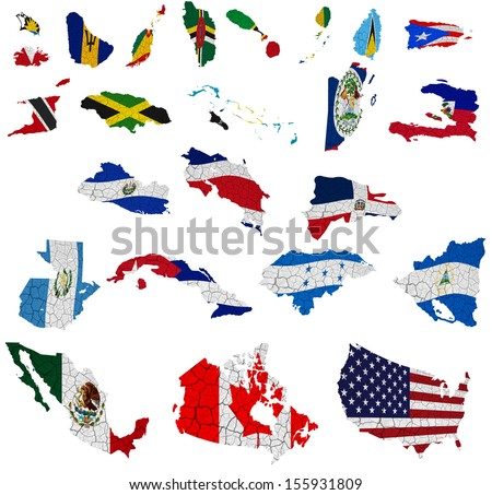 North America countries(without Panama) flag maps on a white background - stock photo