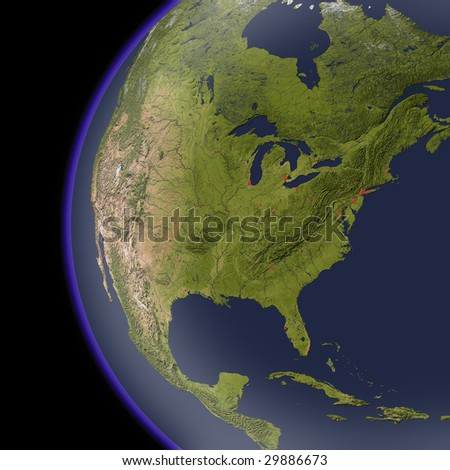 North America from space, shaded relief map. Colored according to natural appearance, with major urban areas.