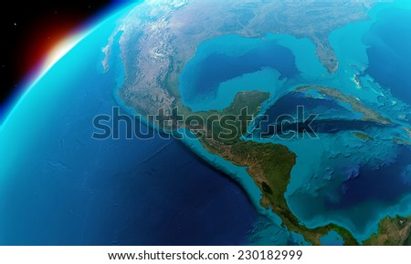 North America including Mexico,Costa Rica, Cuba,Bahamas, some parts of usa and so on -Elements of this image furnished by NASA - stock photo