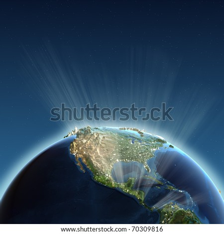 North America lights. Earth map from NASA - stock photo