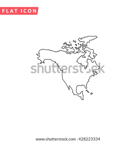 North America Map Black Outline Simple Stock Illustration - North america map black and white