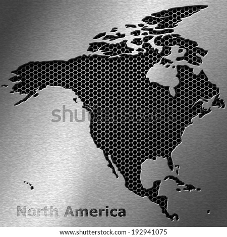 North America map on crack metal background - stock photo
