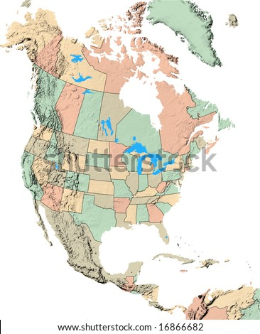North America Map showing US States and Canadian Provinces - stock photo