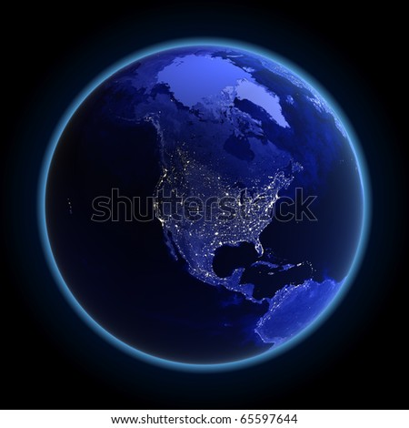 North America. Maps from NASA imagery - stock photo