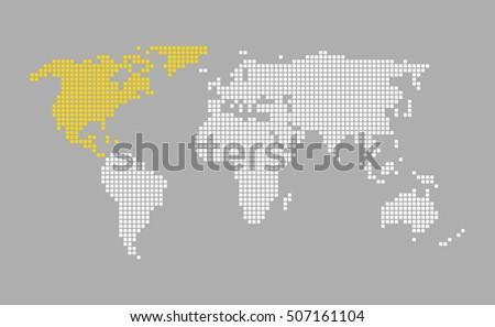 north america modern grey world map with white orange pixels