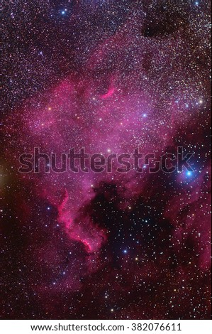 North America Nebula ,Galaxy,Open Cluster,Globular Cluster with stars and space dust in the universe long expose. - stock photo