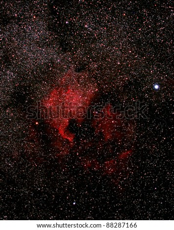 North-America nebula NGC 7000 in the constellation of the Swan