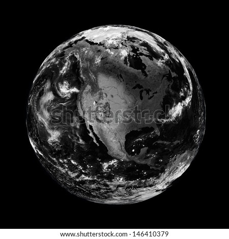 North America on black planet Earth isolated on black background. Elements of this image furnished by NASA.