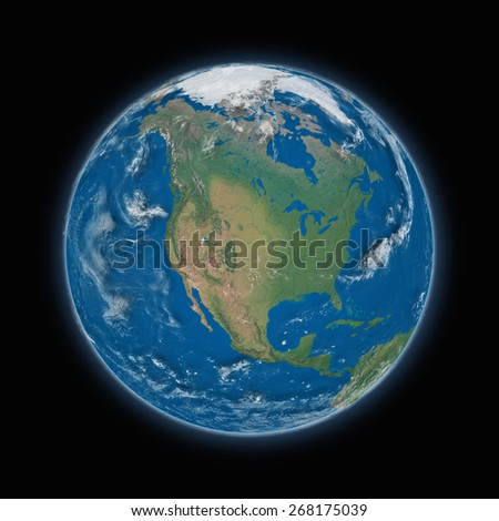 North America on blue planet Earth isolated on black background. Highly detailed planet surface. Elements of this image furnished by NASA. - stock photo