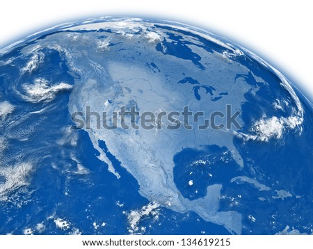 North America on blue planet Earth isolated on white background. Elements of this image furnished by NASA.