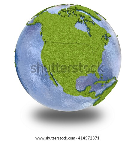 North America on 3D model of planet Earth with grassy continents with embossed countries and blue ocean. 3D illustration isolated on white background with shadow.