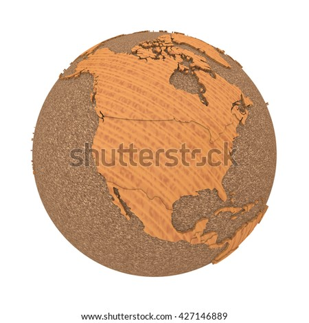 North America on 3D model of wooden planet Earth with oceans made of cork and wooden continents with embossed countries. 3D illustration isolated on white background. - stock photo