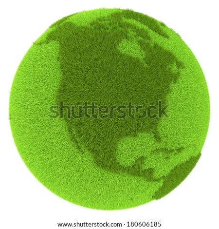 North America on green planet covered with grass isolated on white background. Concept of ecology and clean environment. Elements of this image furnished by NASA