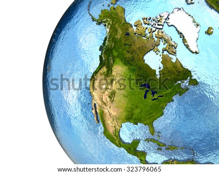 North America on highly detailed planet Earth with embossed continents and country borders. Elements of this image furnished by NASA. - stock photo