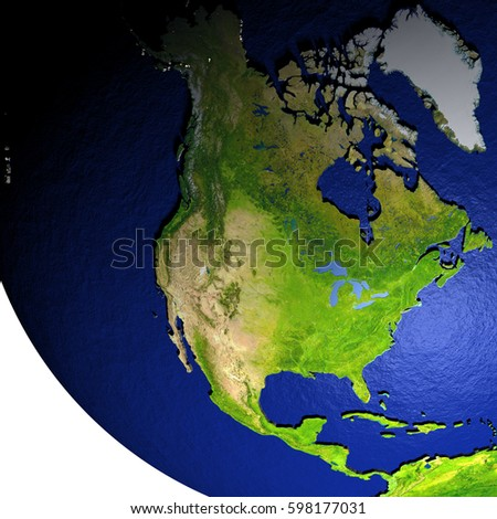 North America on model of Earth with dark blue oceans and embossed landmasses. 3D illustration. Elements of this image furnished by NASA.