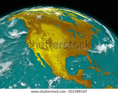 North America on planet Earth isolated on black background. Elements of this image furnished by NASA.