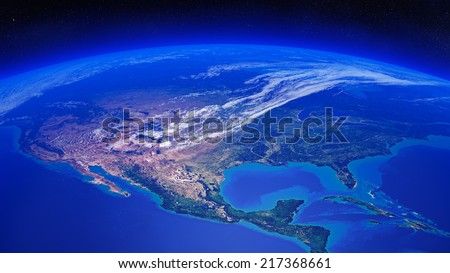 North America seen from space (Texture maps courtesy of NASA) - stock photo