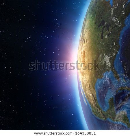 North America sunset from space. Elements of this image furnished by NASA - stock photo
