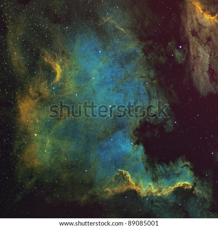 North American and Pelican Nebulae Processed in the Hubble Palette - stock photo