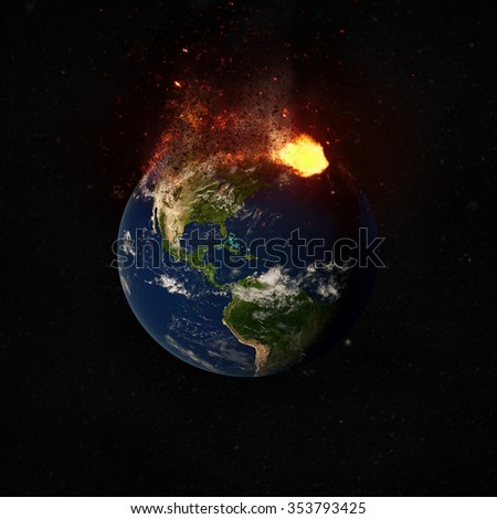 North American Continent. Apocalyptic Chaos Concept. Elements of this image furnished by NASA. - stock photo