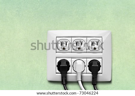North American electric socket with cables connected on the wall . - stock photo