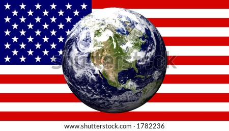 North American Globe on USA Flag