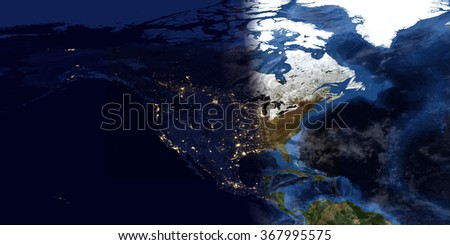 North American High Resolution Maps Composition (Elements of this image furnished by NASA) - stock photo