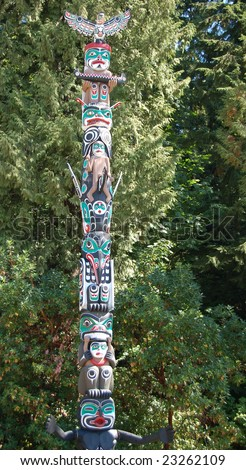 North American Indian painted totem poles in Vancouver