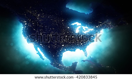 North American Map - High Quality Map Display - United States, Canada, Mexico (Elements of this image furnished by NASA) - stock photo