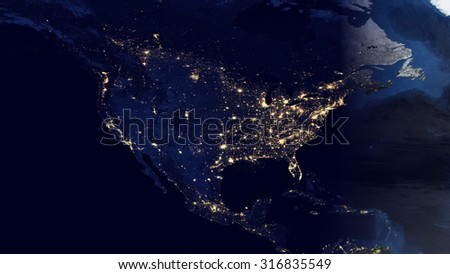 United States By Night View Space Stock Photo Shutterstock - Us map at night from space